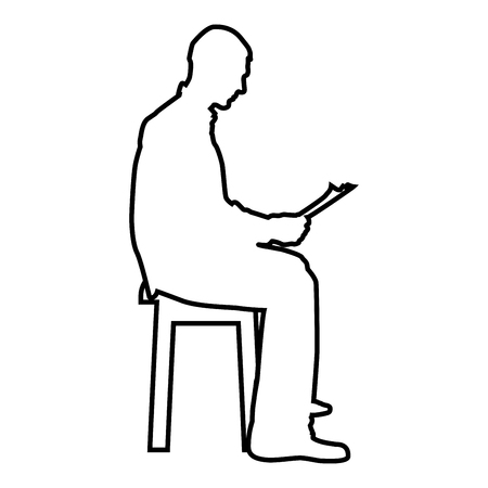 Man sitting reading Silhouette concept learing document icon black color vector illustration flat style simple image outline Ilustração