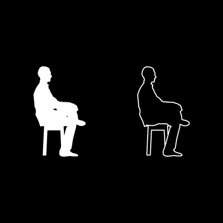 Man sitting pose Young man sits on a chair with his leg thrown silhouette icon set white color vector illustration flat style simple image