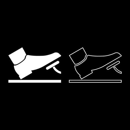 Pied poussant la pédale d'accélérateur pédale de frein auto service concept icon set vector illustration couleur blanc style plat image simple