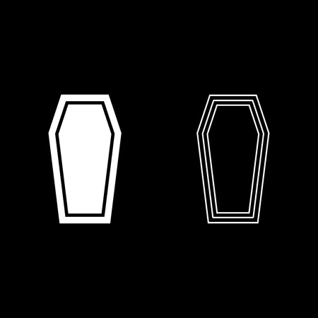 Coffin Insurance concept Funeral subject Lid coffin icon set white color vector illustration flat style simple image