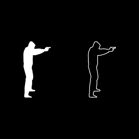 Man in the hood with gun Concept danger outstretched arms icon set white color vector illustration flat style simple image