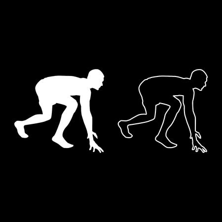 Runner si prepara a iniziare a correre Inizia a correre Runner in postura pronta per sprint silhouette Pronto per iniziare il set di icone colore bianco illustrazione vettoriale stile piatto semplice immagine