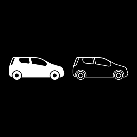 car Compact shape for travel racing icon set white color vector illustration flat style simple image