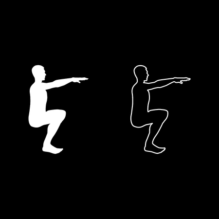 Crouching Man doing exercises crouches squat Sport action male Workout silhouette side view icon set white color vector illustration flat style simple image