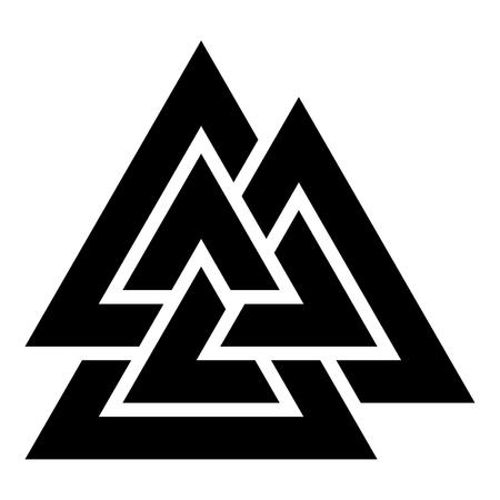Valknut sign symblol icon black color vector illustration flat style simple image