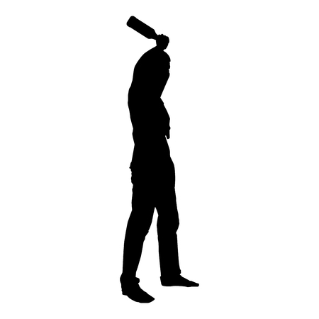 Man with bandana on his face that hides his identity and bottle in hand Concept of rebellion Concept protest and danger icon black color vector illustration flat style simple image Ilustração