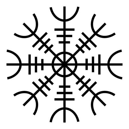 Helm of awe aegishjalmur or egishjalmur icon black color vector illustration flat style simple image