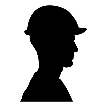 Avatar builder architect engineer in helmet view icon black color vector illustration flat style simple image