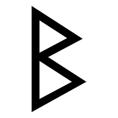 Berkana rune birch birth icon black color vector illustration flat style simple image