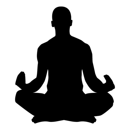 Meditating man Practicing yoga symbol icon black color vector illustration flat style simple image Illustration