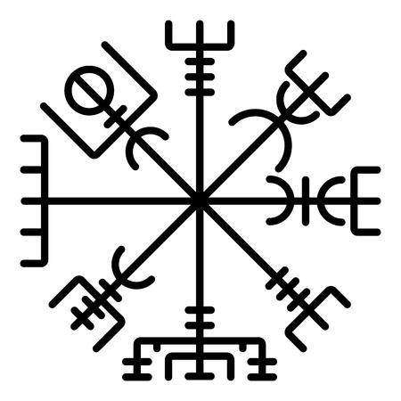 Boussole runique Vegvisir galdrastav Icône symbole boussole de navigation couleur noire illustration vectorielle style plat image simple