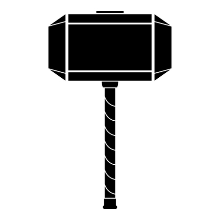 Thors hammer Mjolnir icon black color vector illustration flat style simple image Çizim