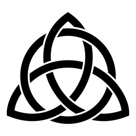 Triquetra in cirkel Trikvetr knoop vorm Trinity knoop zwarte kleur vector illustratie vlakke stijl eenvoudig pictogramafbeelding