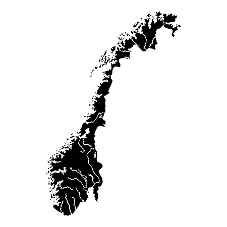 Map of Norway icon black color vector illustration flat style simple image Illustration
