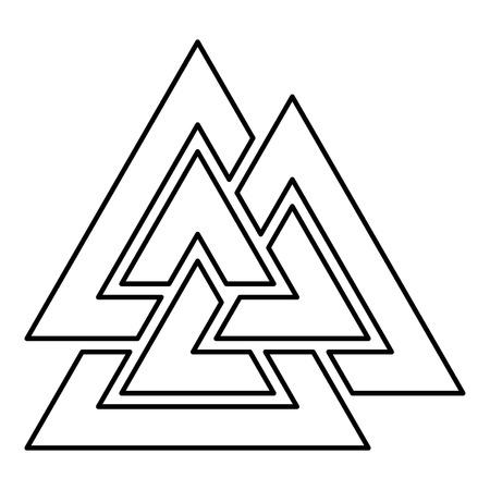 Signo de Valknut symblol icono ilustración vectorial de color negro tipo plano simple imagen Ilustración de vector