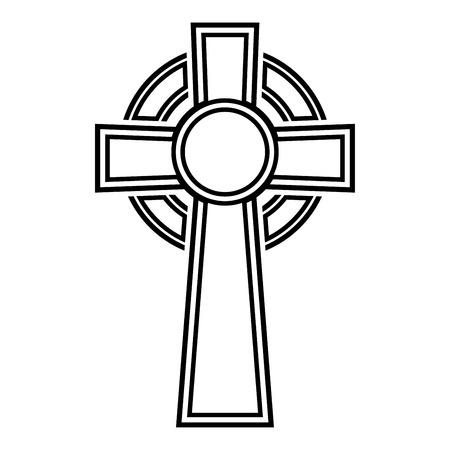 Keltisch kruis pictogram zwarte kleur vector illustratie vlakke stijl eenvoudige afbeelding Vector Illustratie