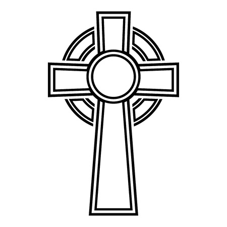 Celtic cross icon black color vector illustration flat style simple image
