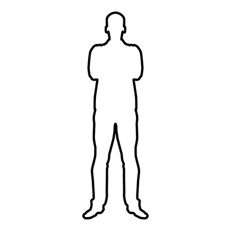 Man with folded arms Confidence concept business man icon black color vector illustration flat style simple image