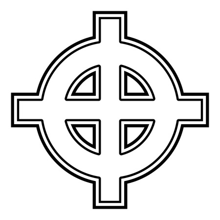 Celtic cross white superiority icon black color vector illustration flat style simple image