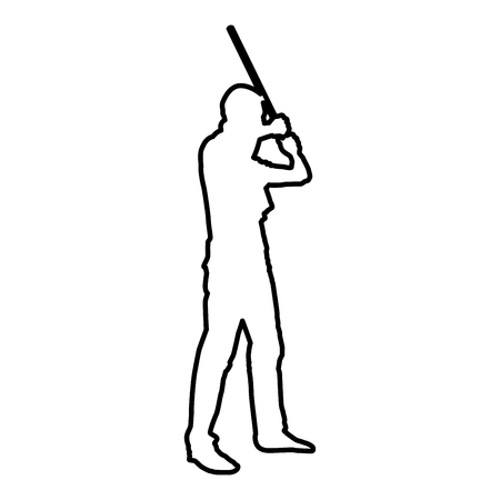 Man with bandana on his face that hides his identity man holds stick in hand Concept of rebellion Concept protest and danger icon black color vector illustration flat style simple image