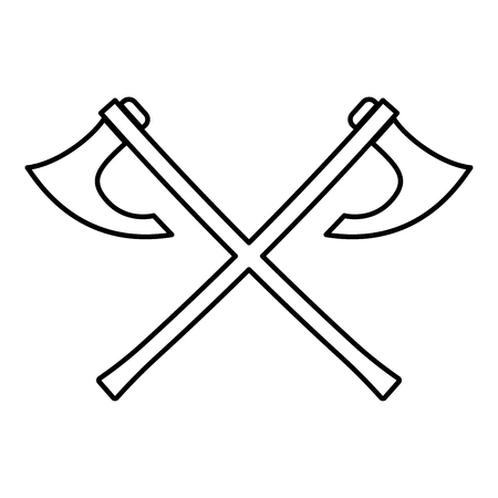 Two battle axes vikings icon black color vector illustration flat style simple image Illustration