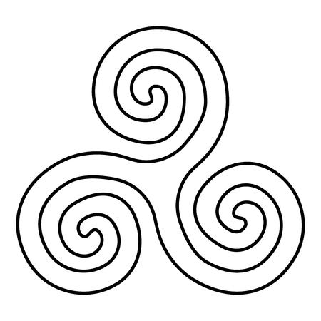 Triskelion or triskele symbol sign icon black color vector illustration flat style simple image Illustration