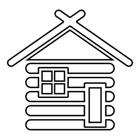 Wooden house Barn with wood Modular log cabins Wood cabin modular homes icon black color vector illustration flat style simple image