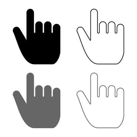 Hand point select declare index finger forefinger for click concept pushing choose icon set grey black color vector illustration outline flat style simple image Foto de archivo - 114476880