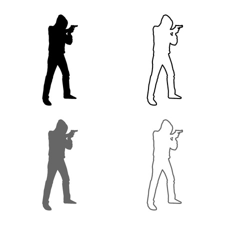 Man in the hood with gun Concept danger short arm icon set grey black color vector illustration outline flat style simple image