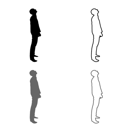 Man looks up silhouette icon set grey black color vector illustration outline flat style simple image