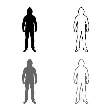 Man in the hood concept danger silhouette front side icon set grey black color vector illustration outline flat style simple image