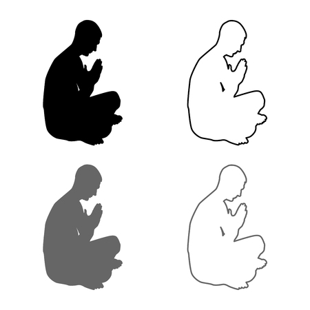 Man praying silhouette icon set grey black color vector illustration outline flat style simple image