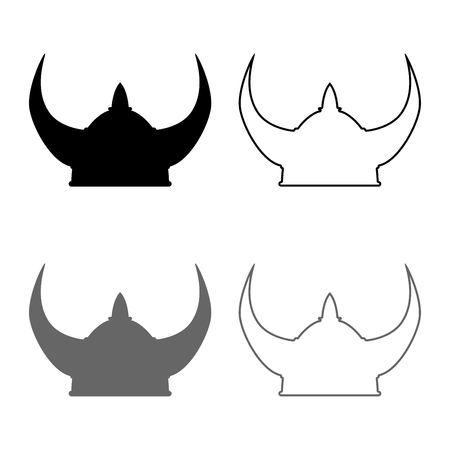 Viking helmet icon set grey black color vector illustration outline flat style simple image