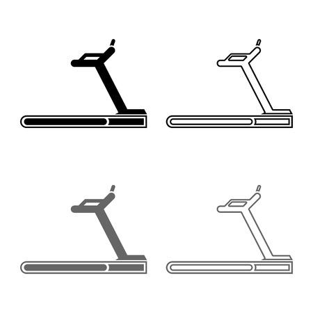 Treadmill machine icon set grey black color vector illustration outline flat style simple image Ilustracje wektorowe