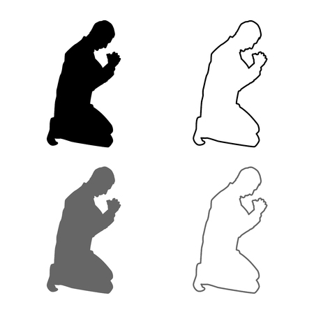 Man pray on his knees silhouette icon set grey black color vector illustration outline flat style simple image Vectores