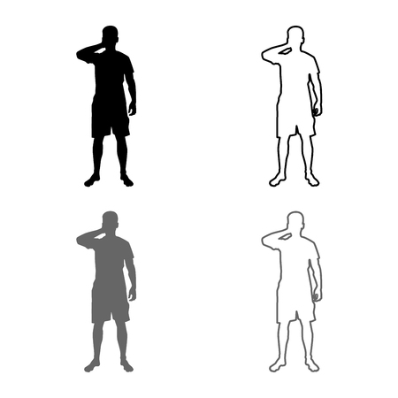 Man closing his eyes his hands silhouette front view icon set grey black color vector illustration outline flat style simple image