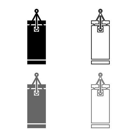 Punching bag icon set grey black color vector illustration outline flat style simple image 矢量图像
