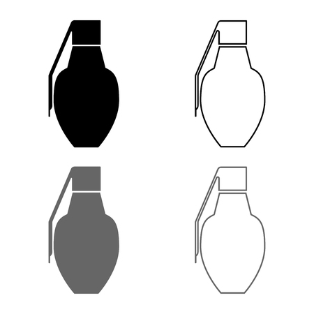 Grenade icon set grey black color vector illustration outline flat style simple image