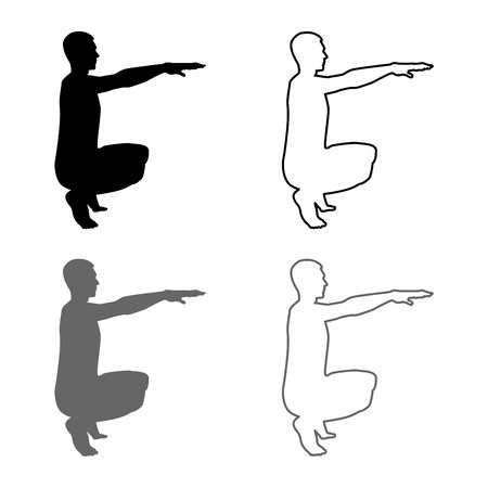 Crouching Man doing exercises crouches squat Sport action male Workout silhouette side view icon set grey black color vector illustration outline flat style simple image