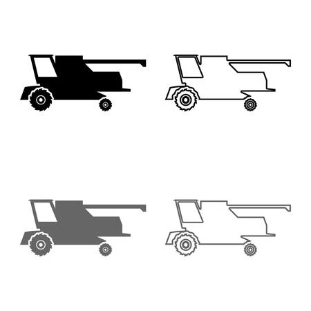 Farm harvester for work on field Combine icon set grey black color vector illustration outline flat style simple image