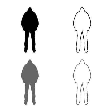 Man in the hood concept danger silhouette back side icon set grey black color vector illustration outline flat style simple image Çizim