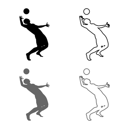 Volleyball player hits the ball with top silhouette side view Attack ball icon set grey black color vector illustration outline flat style simple image