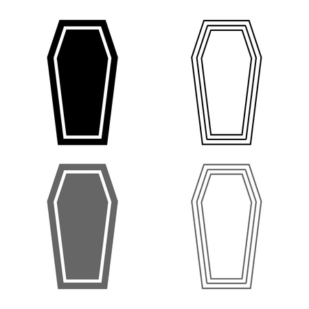 Coffin Insurance concept Funeral subject Lid coffin icon set grey black color vector illustration outline flat style simple image Illustration