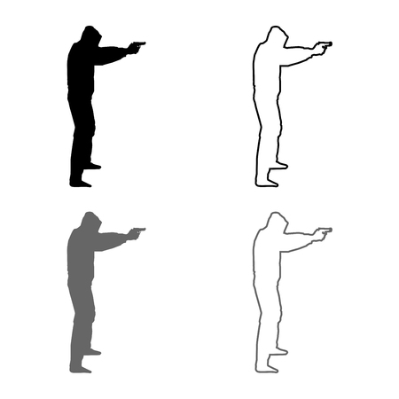Man in the hood with gun Concept danger outstretched arms icon set grey black color vector illustration outline flat style simple image Illustration