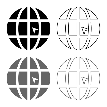 World with arrow world click concept website icon set grey black color vector illustration outline flat style simple image