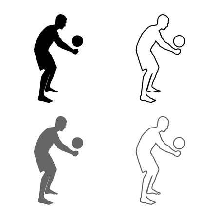 Volleyball player hits the ball with bottom silhouette side view Attack ball icon set grey black color vector illustration outline flat style simple image