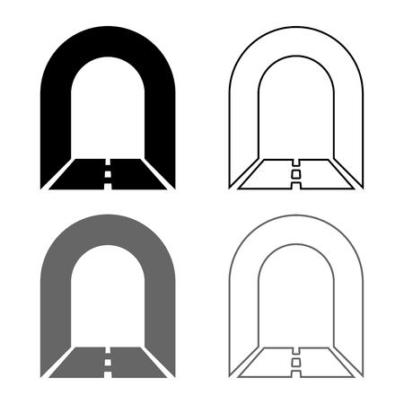 Subway tunnel with road for car icon set grey black color vector illustration outline flat style simple image