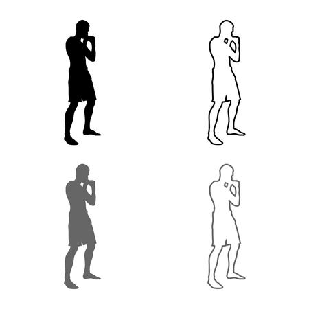 Fighter in fighting stance Man doing exercises Sport action male Workout silhouette side view icon set grey black color vector illustration outline flat style simple image