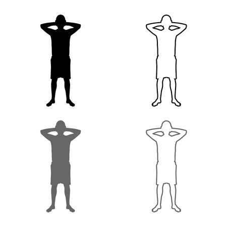Man covering his ears silhouette front view Closing concept ignore icon set grey black color vector illustration outline flat style simple image Stock Illustratie