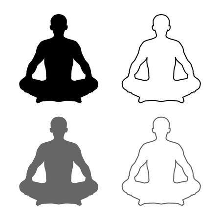 Hombre en pose de loto pose de yoga posición de meditación silueta Asana conjunto de iconos de color negro gris ilustración vectorial tipo plano de esquema simple imagen
